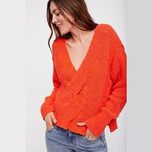 Free People Coco Twist V-Neck Knit Sweater